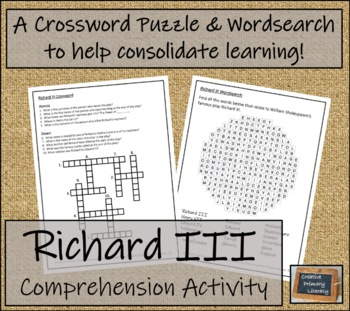 William Shakespeare's Richard III - 5th & 6th Grade Close Reading Activity