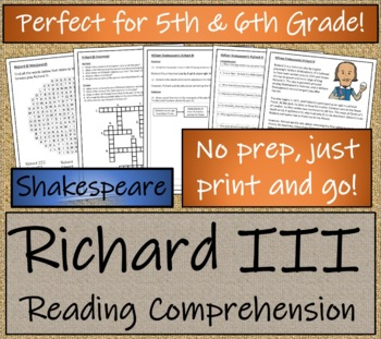 William Shakespeare's Richard III - Play Script & Close Reading Bundle