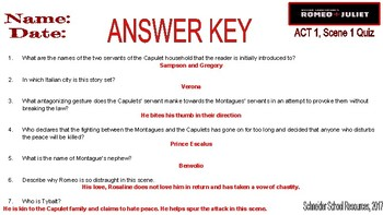 William Shakespeare's Romeo and Juliet: ACT One Quiz Bundle