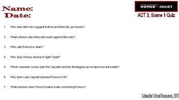 William Shakespeare's Romeo and Juliet: ACT Three Quiz Bundle