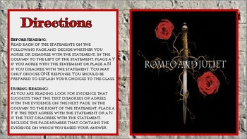 William Shakespeare's Romeo and Juliet: Anticipation Guide and Reading Questions