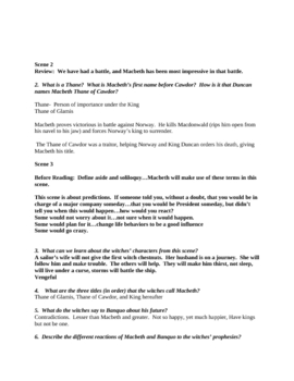 William Shakespeare's Macbeth Study Guide with Key