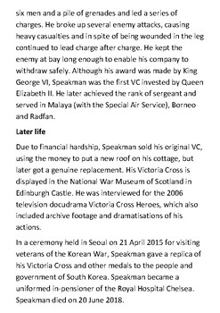 William Speakman-Pitt Victoria Cross Holder Handout