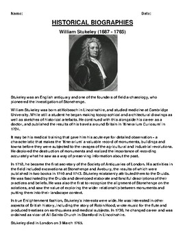 William Stukeley  Biography Article and (3) Assignments