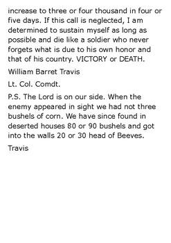 William Travis Handout
