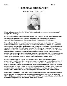 William Tuke Biography Article and (3) Assignments