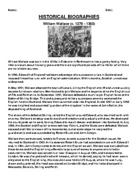 William Wallace Biography Article and (3) Assignments