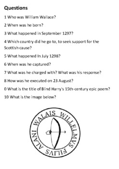 William Wallace Handout