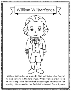 William Wilberforce Biography Coloring Page Craft or Poster, England