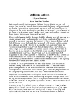 William Wilson by Poe - Easy Reading Version with Reading Quiz