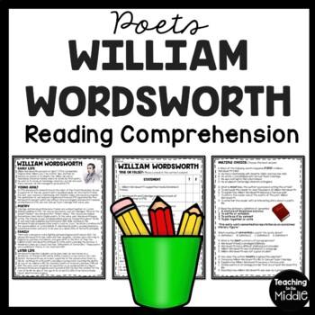 William Wordsworth Biography Reading Comprehension Worksheet, Poetry