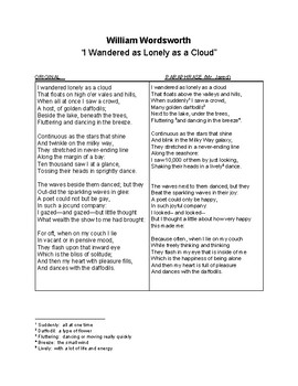 """William Wordsworth, """"I Wandered as Lonely as a Cloud"""" Activity"""