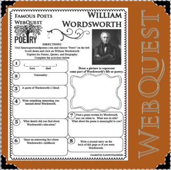 William Wordsworth - WEBQUEST for Poetry - Famous Poet