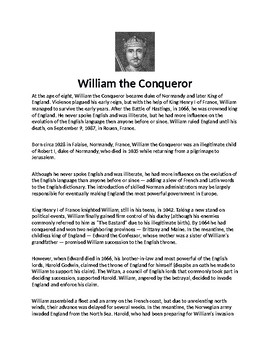 William the Conqueror Biography Article and Assignment Worksheet