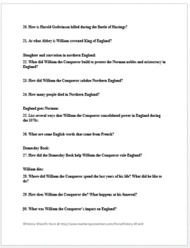 William the Conqueror and the Defeat of England Webquest