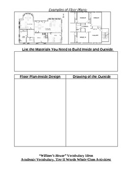 William's House Activity Menu/Literacy Centers/Differentiated Plans
