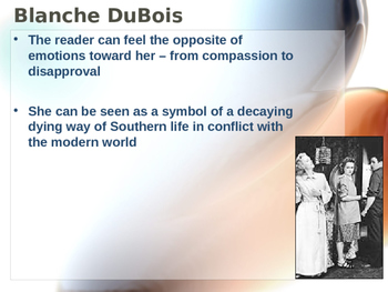 Williams ~ Streetcar Named Desire - Blanche DuBois Character Study POWERPOINT