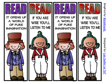 Willie Wonka-Charlie and the Chocolate Factory Inspired Bookmarks - 8 Designs