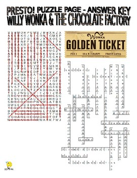 Willy Wonka Movie Puzzle Page (Wordsearch and Criss-Cross)
