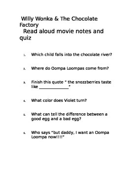 Charlie and the Chocolate Factory Quiz