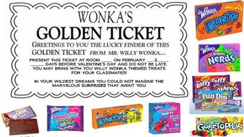 Willy Wonka Valentines and Golden Ticket