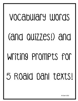 Willy Wonka Vocabulary and Writing Prompts