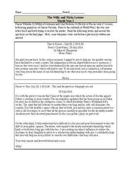 Willy and Nicky Telegrams - WWI Primary Source Reading Activity with Questions