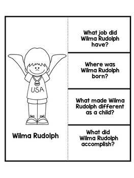 Wilma Rudolph- Black History Month Activity