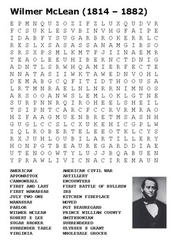 Wilmer McLean US Civil War Word Search