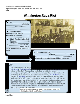 Wilmington Race Riot and Jim Crow Laws Guided notes