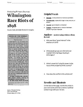 Wilmington Race Riots of 1898 Primary Source Analysis