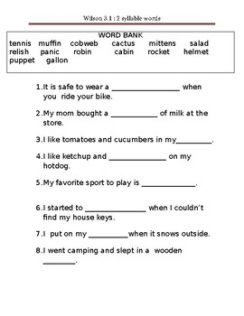 two closed syllable word Teacher created activities