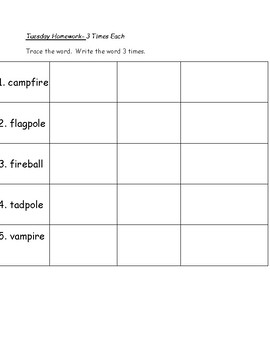 2 syllable v-e words  weekly spelling packet