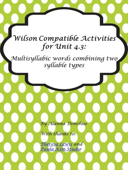 Multi-Sensory Reading Program Activities for  words containing 2 syllable types