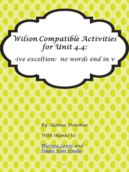 Activities for Multi-Sensory Reading Programs (-ive exceptions)