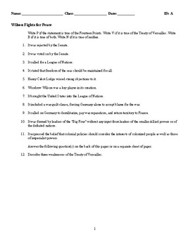 Wilson Fights for Peace - (Quiz or Study Guide)