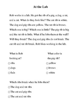 Decodable Passage with short a, o, i and final b