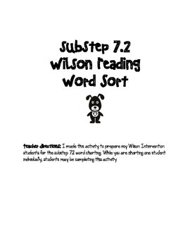 Reading Intervention Substep 7.2 Word Sort