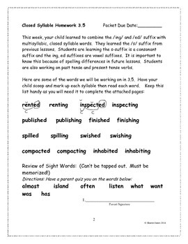 Multisyllabic Closed Syllable  3.5 Supplemental Homework Packet