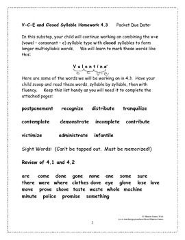 Vowel-Consonant-e and Closed Syllable 4.3 Supplemental Homework Packet