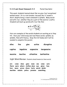 Vowel-Consonant-e and Closed Syllable 4.4 Supplemental Homework Packet