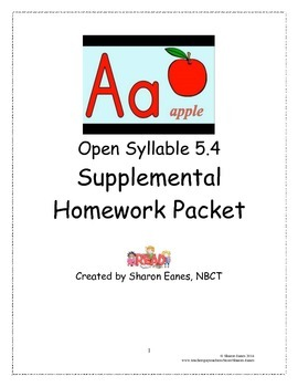 Open Syllable Combined w/ Closed and V-C-E 5.4 Supplemental Homework Packet TPT