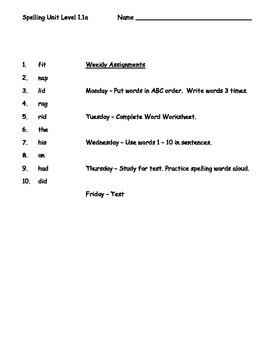 Phonics Based Spelling Packet- Level 1 - Spelling Packet 1.1a