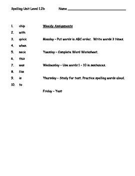 Phonics Based Spelling Packet - Level 1 - Spelling Packet 1.2b
