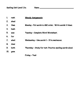 Phonics Based Spelling Packet - Level 1 - Spelling Packet 1.3a
