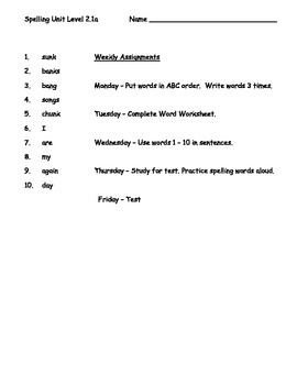 Phonics Based Spelling Packet Level 2 - Spelling Packet 2.1a