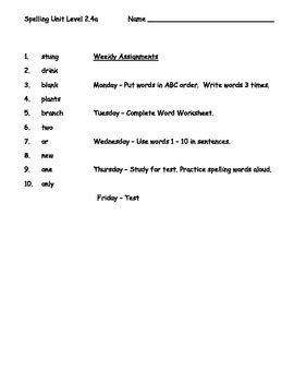 Phonics Based Spelling Packet Level 2 - Spelling Packet 2.4a