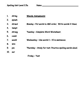 Phonics Based Spelling Packet Level 2 - Spelling Packet 2.5a
