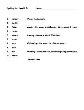 Phonics Based Spelling Packet Level 3.2b