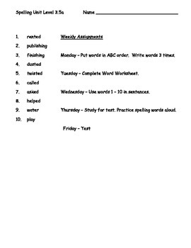 Phonics Based Spelling Packet Level 3.5a